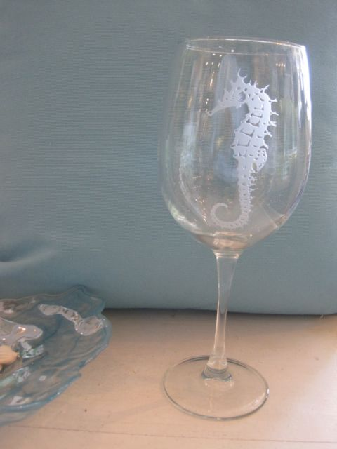 Etched Seahorse White Wine Glass Candy S Cottage
