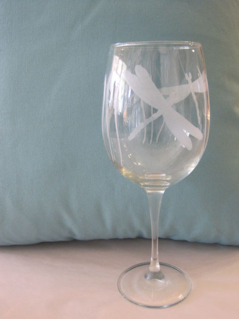 Etched Dragonfly White Wine Glass Candy S Cottage