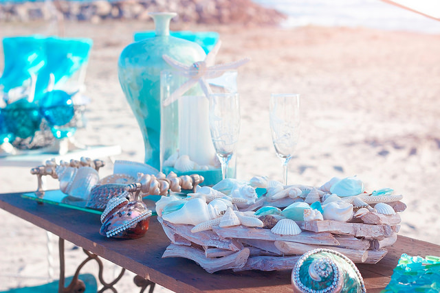 We can color coordinate decor to wedding attire - perfect to match the beauty of the sea!